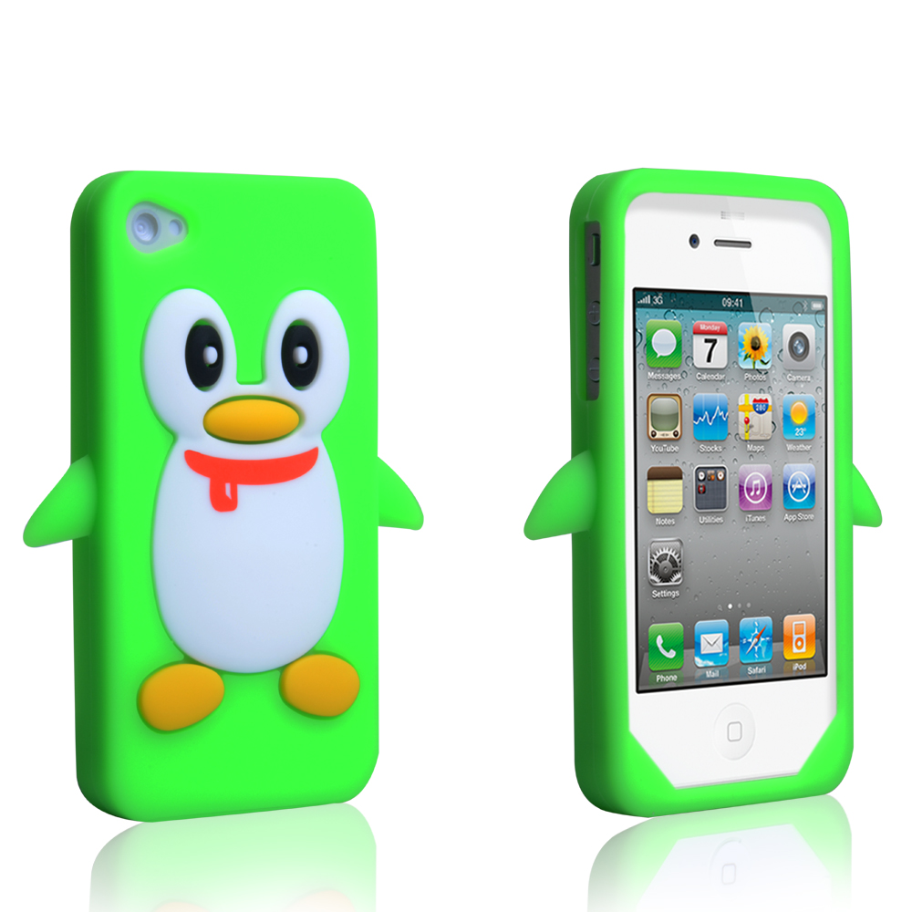 2017ec70655 YouSave Accessories iPhone 4 / 4S Silicone Penguin Case - Green