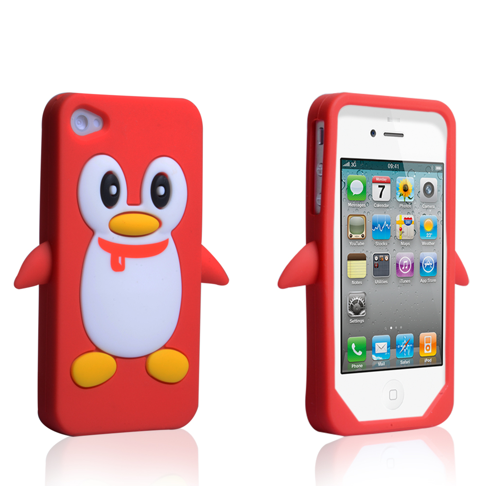 YouSave Accessories iPhone 4 / 4S Silicone Penguin Case - Red