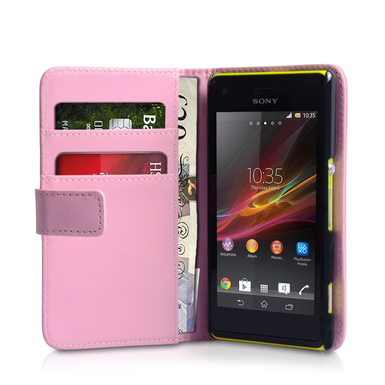 YouSave Sony Xperia M Leather Effect Wallet Case - Baby Pink