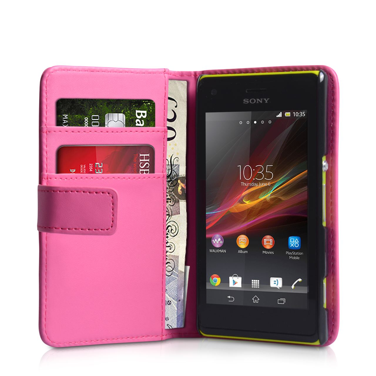 YouSave Sony Xperia M Leather Effect Wallet Case - Hot Pink