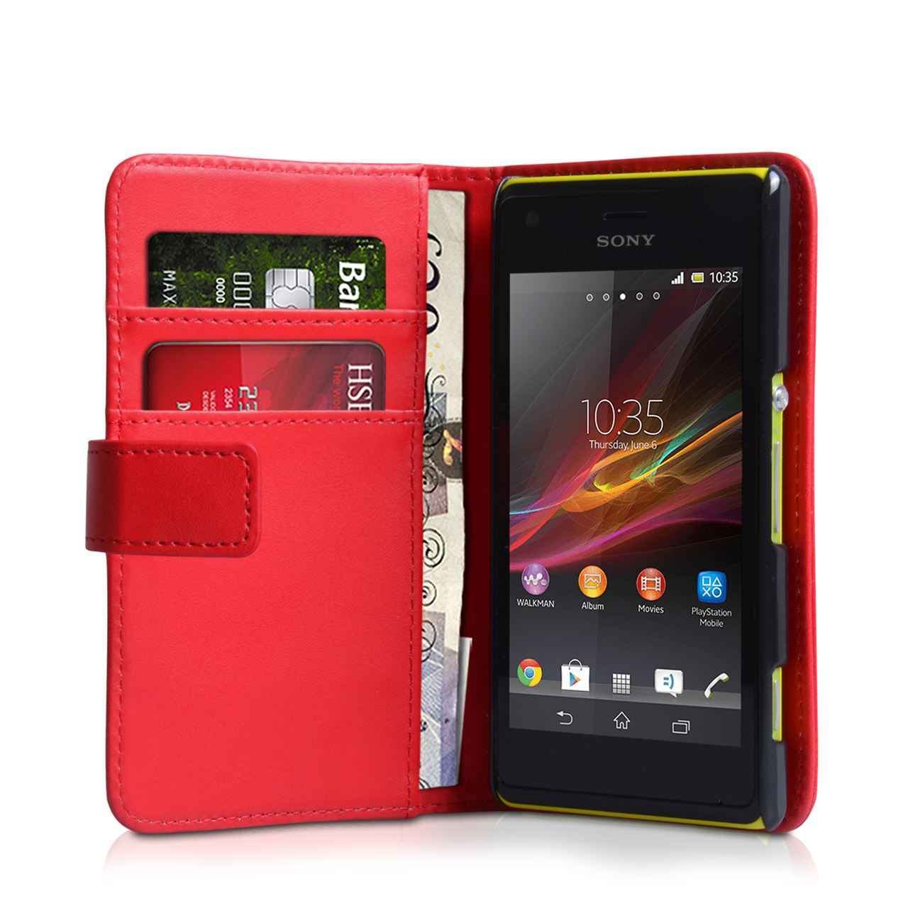 YouSave Accessories Sony Xperia M Leather Effect Wallet Case - Red