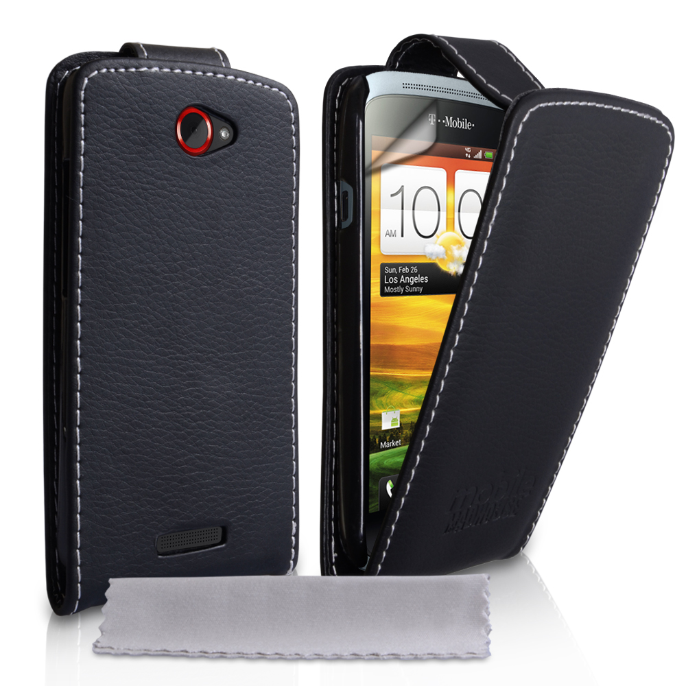YouSave Accessories HTC One S Embossed PU Leather Flip Case Black