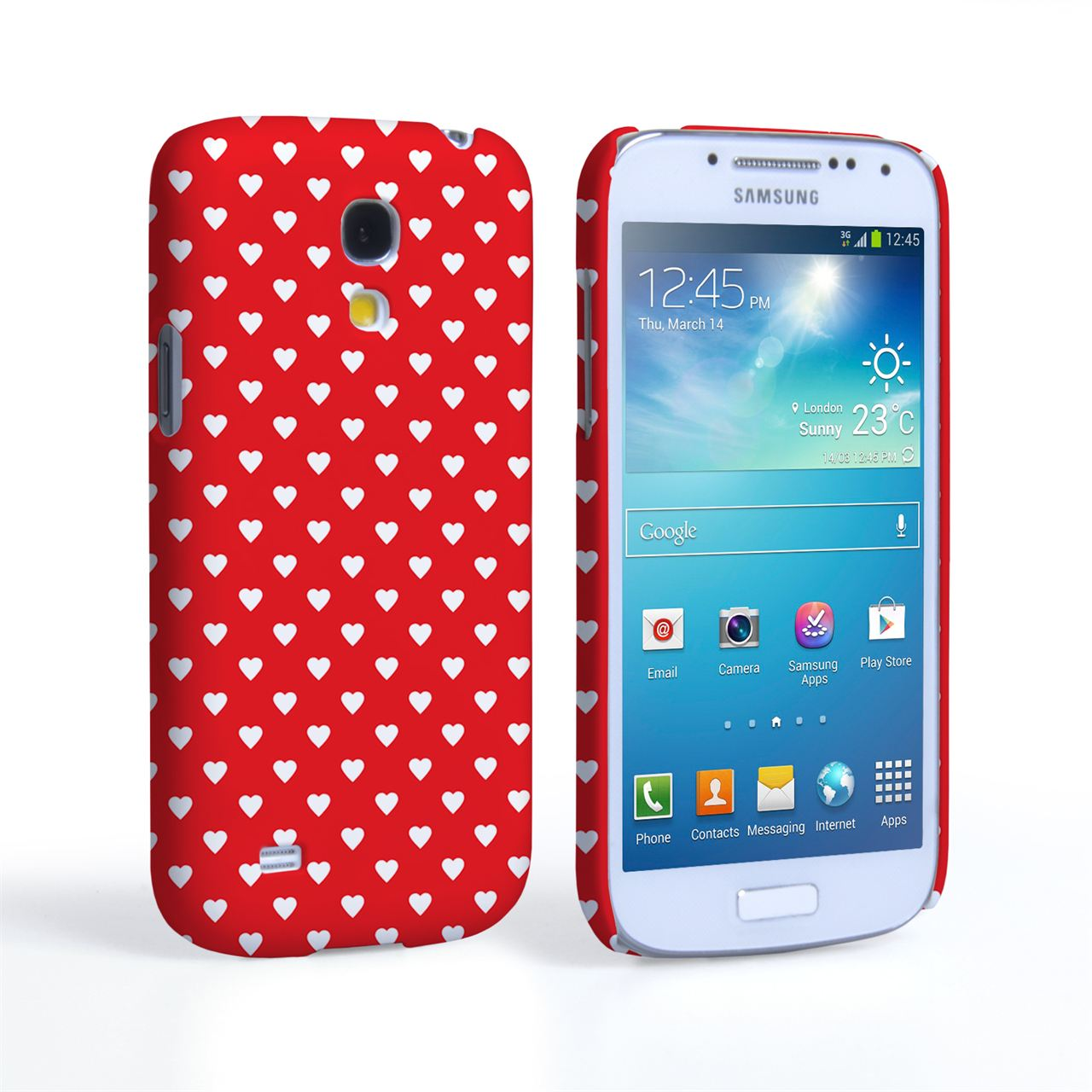 Caseflex Samsung Galaxy S4 Mini Cute Hearts Red and White Case
