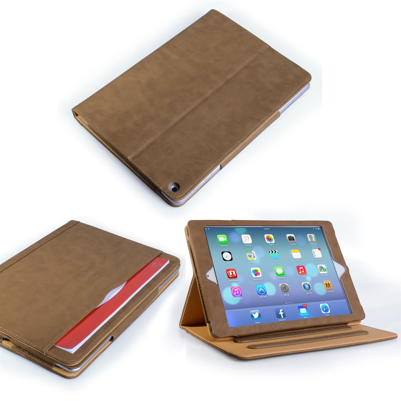 Caseflex iPad Air Textured Faux Leather Stand Case - Brown and Tan