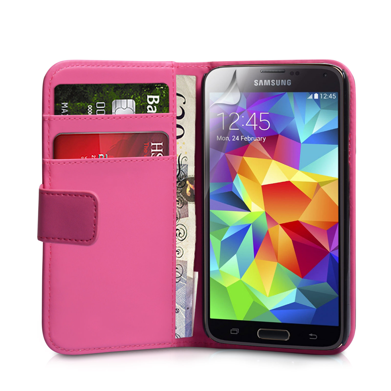 YouSave Samsung Galaxy S5 Leather-Effect Wallet Case - Hot Pink