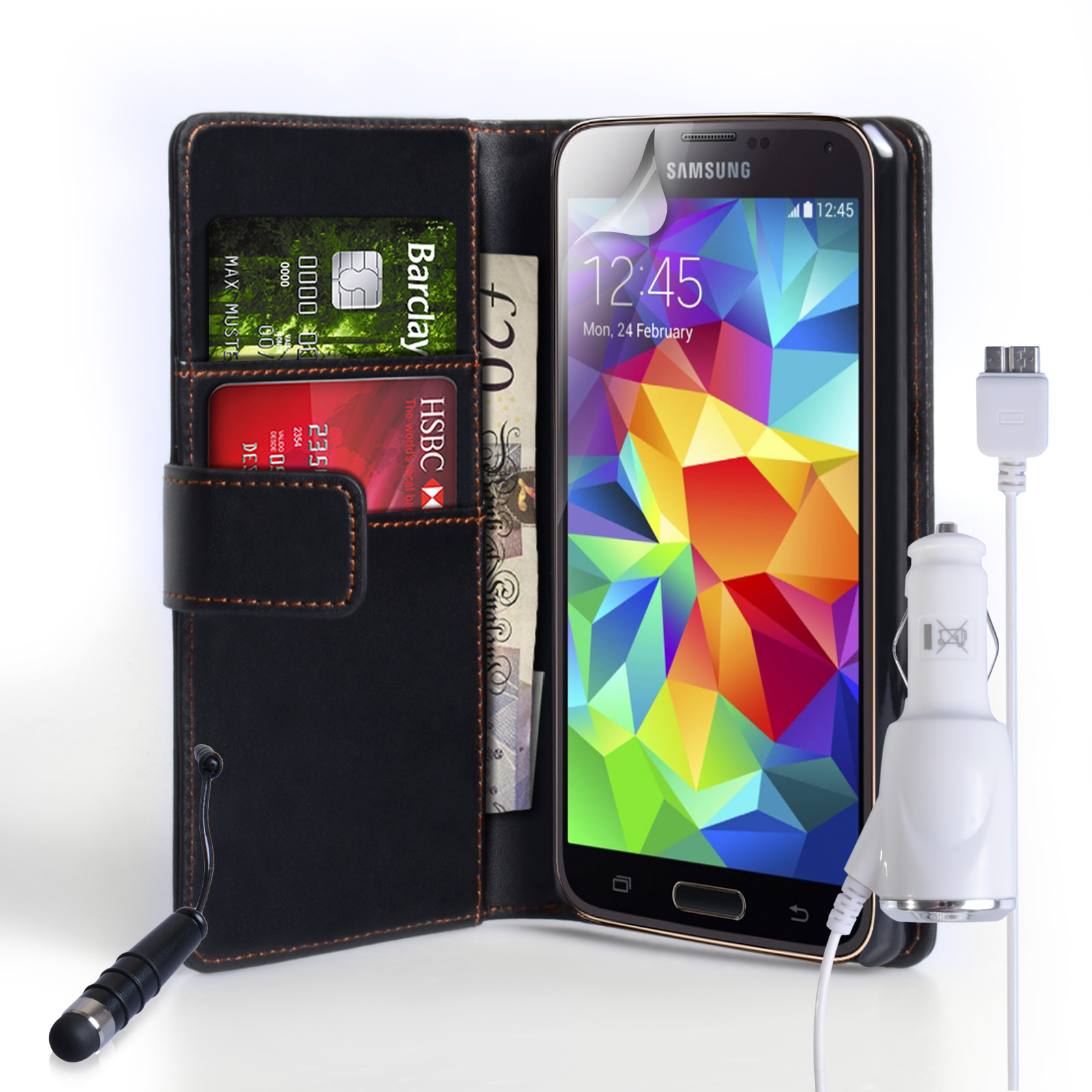 YouSave Galaxy S5 Leather-Effect Wallet Case Mini Pen and Car Charger