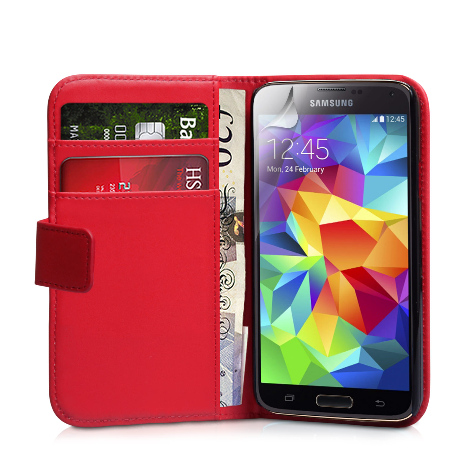 YouSave Accessories Samsung Galaxy S5 Leather-Effect Wallet Case - Red