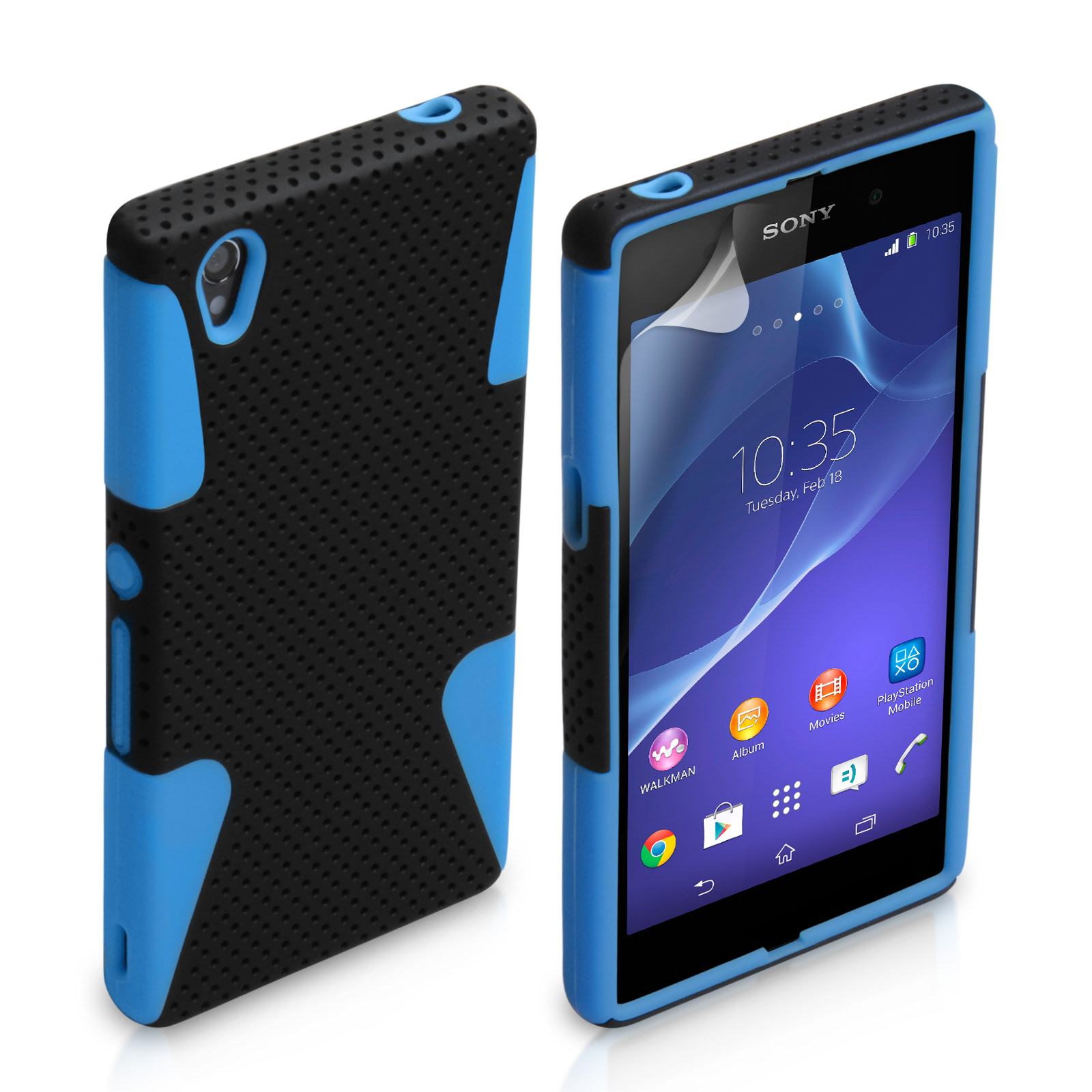 YouSave Sony Xperia Z2 Tough Mesh Combo Silicone Case - Blue-Black