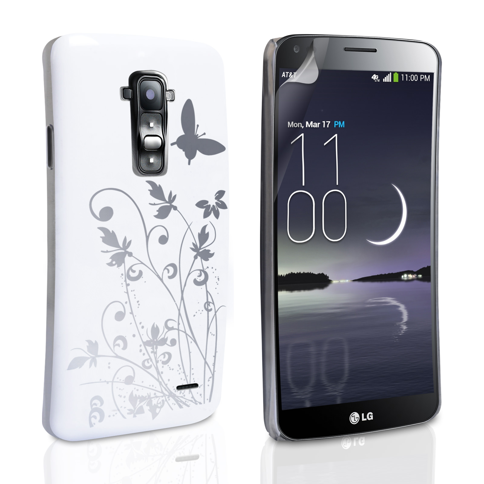 YouSave LG G Flex Floral Butterfly Hard Case - White-Silver