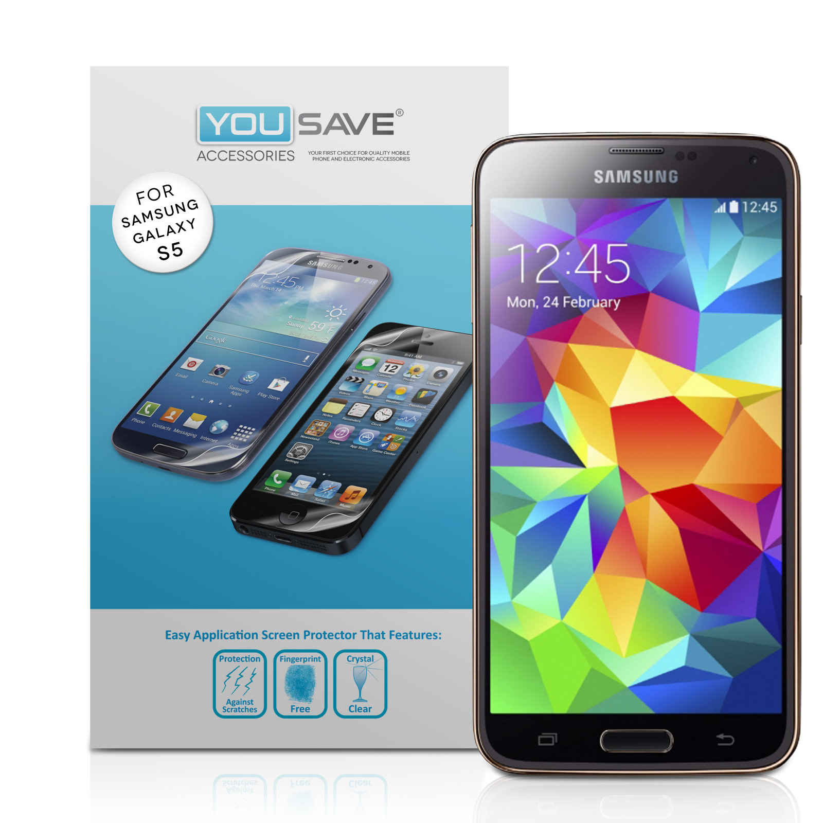 YouSave Accessories Samsung Galaxy S5 Screen Protectors x3