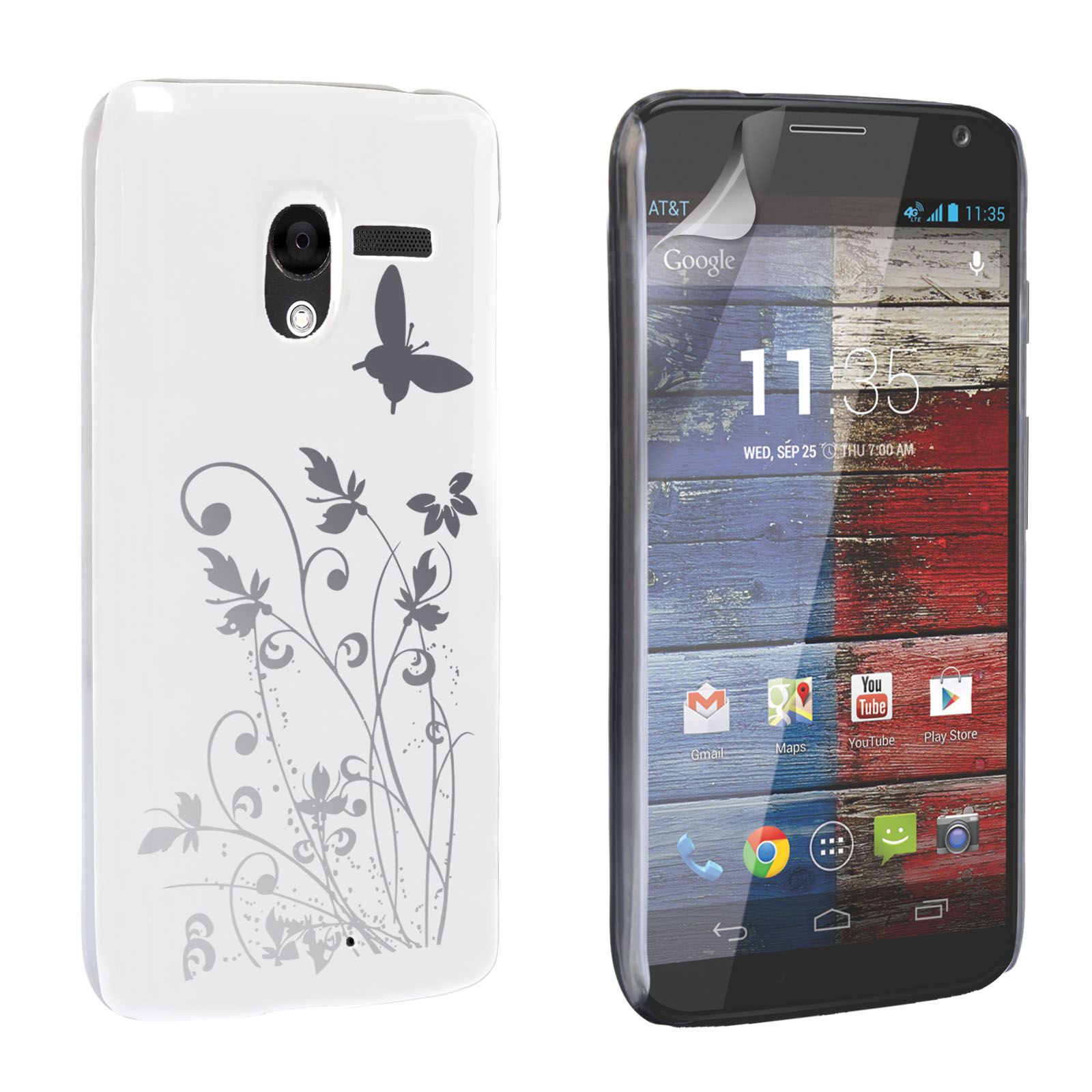 YouSave Motorola Moto X Floral Butterfly Hard Case - White-Silver