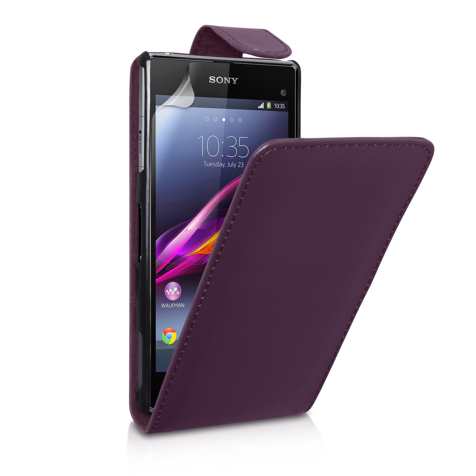 YouSave Sony Xperia Z1 Compact Leather-Effect Flip Case - Purple
