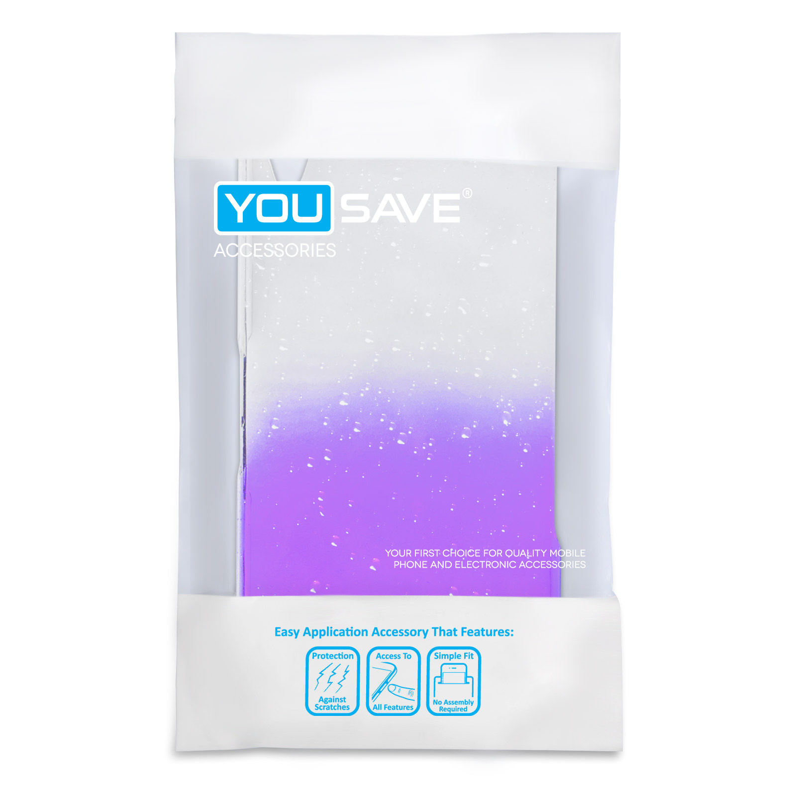 YouSave Accessories Sony Xperia Z2 Raindrop Hard Case - Purple-Clear