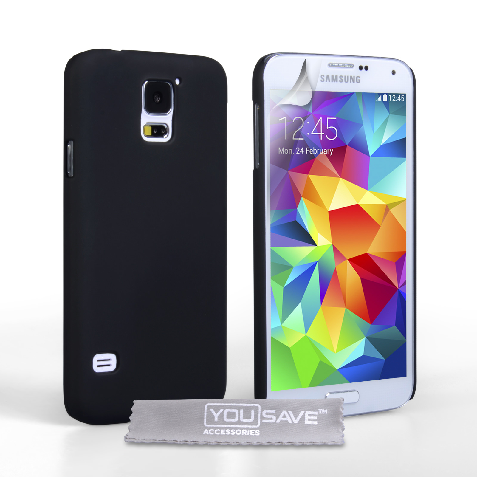 YouSave Accessories Samsung Galaxy S5 Hard Hybrid Case - Black