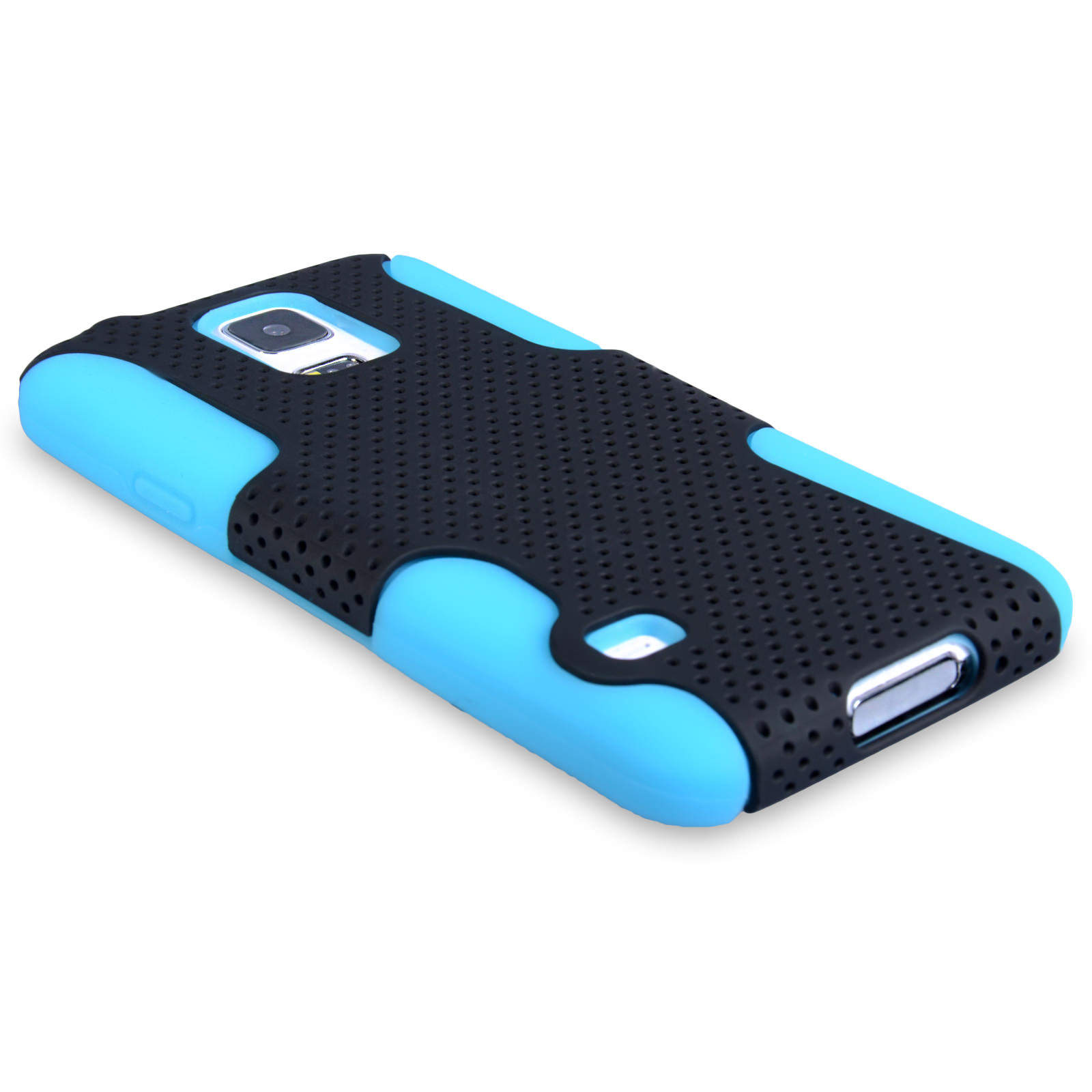 YouSave Samsung Galaxy S5 Tough Mesh Combo Silicone Case - Blue-Black