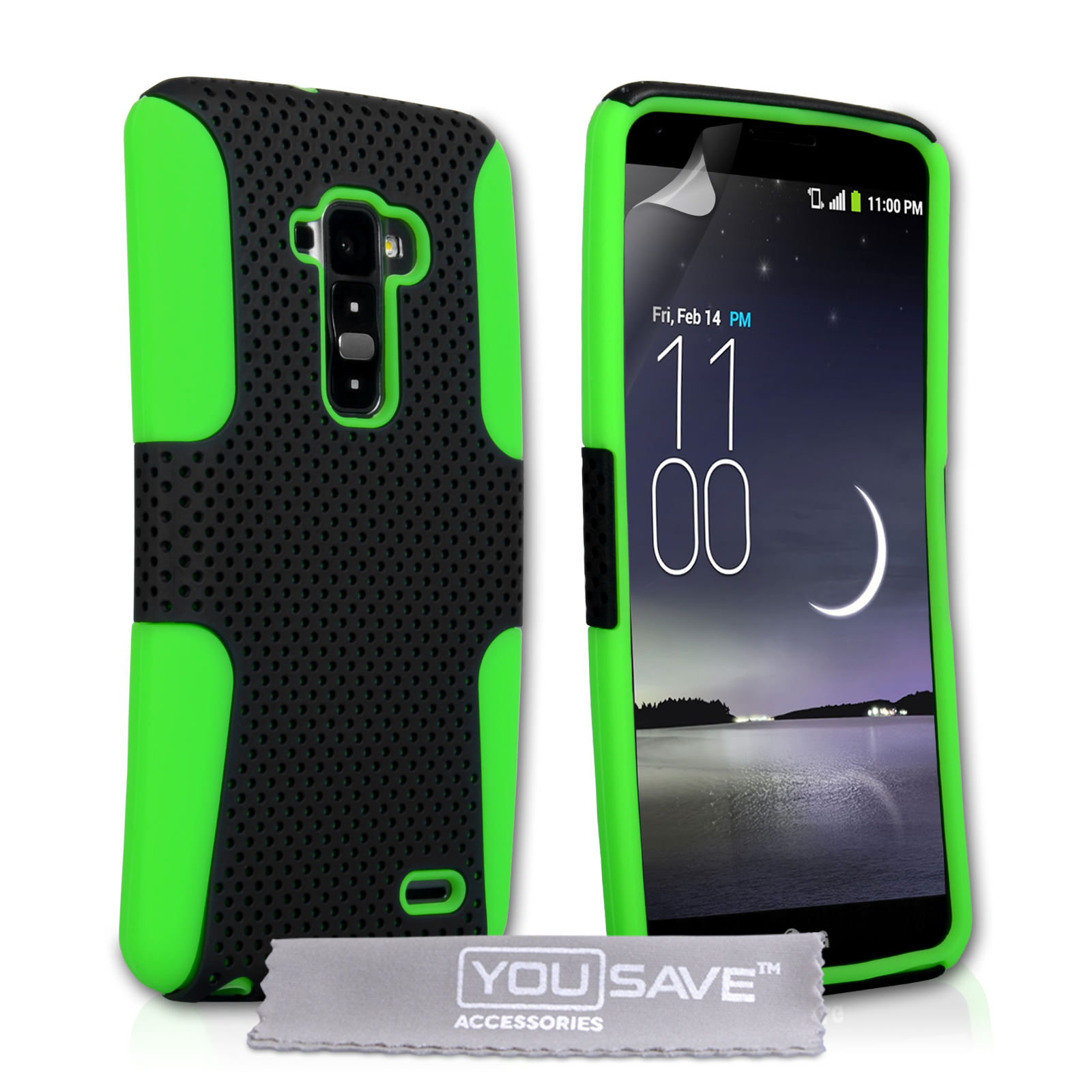 YouSave LG G Flex Tough Mesh Combo Silicone Case - Green-Black