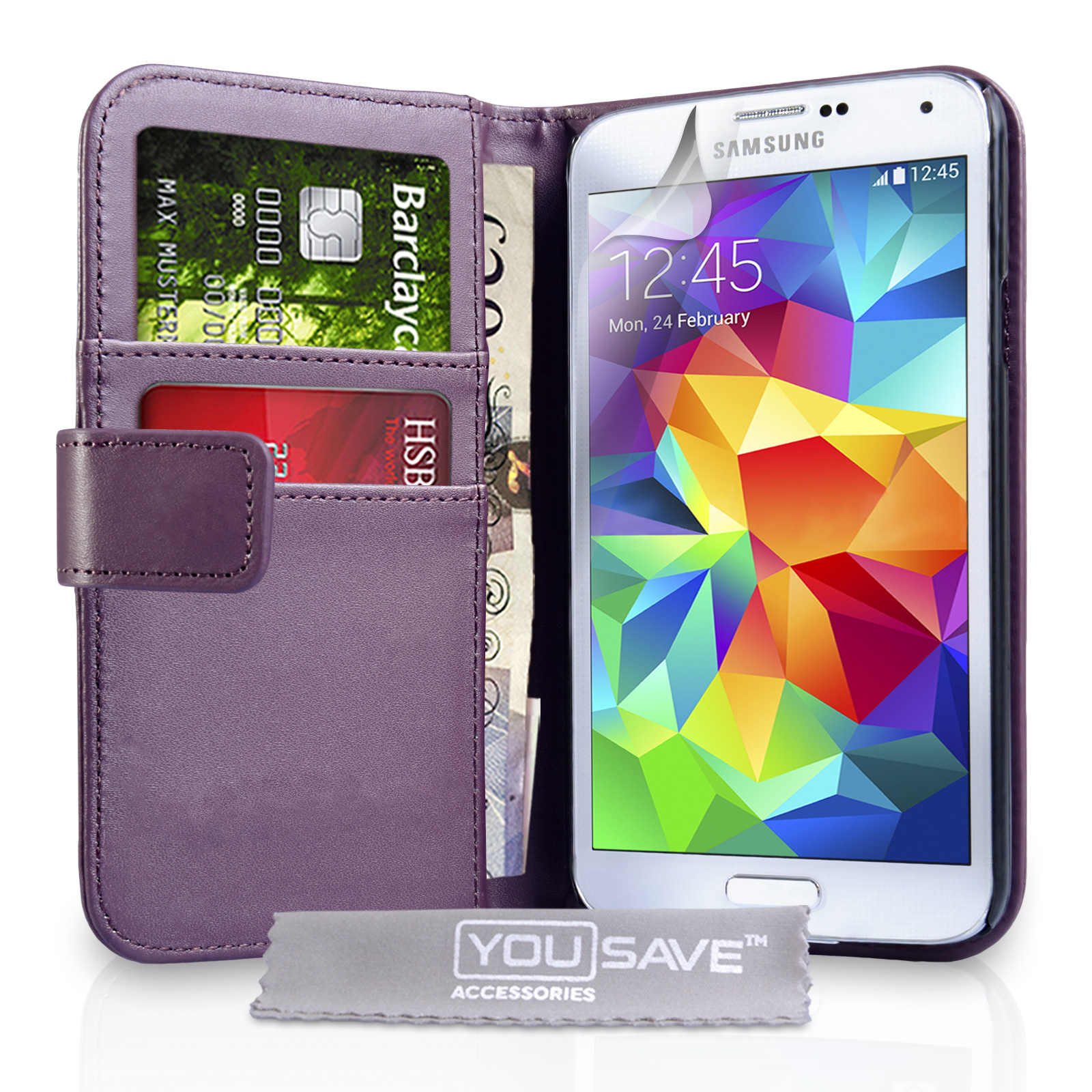 YouSave Samsung Galaxy S5 Leather-Effect Wallet Case - Purple