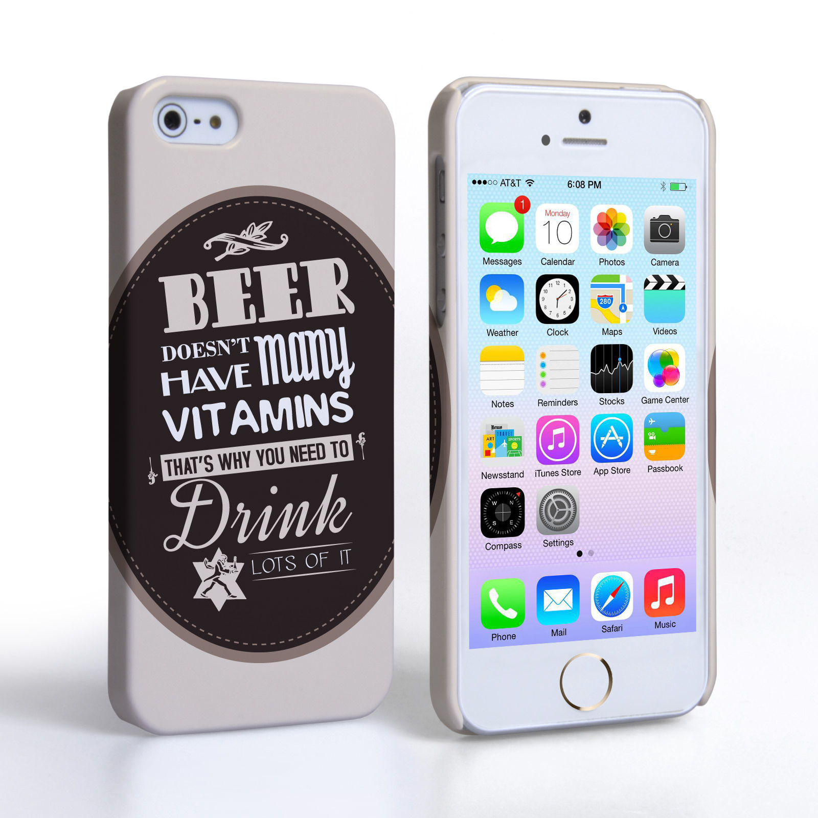 Caseflex iPhone 5 / 5S Beer Label Quote Hard Case – Brown