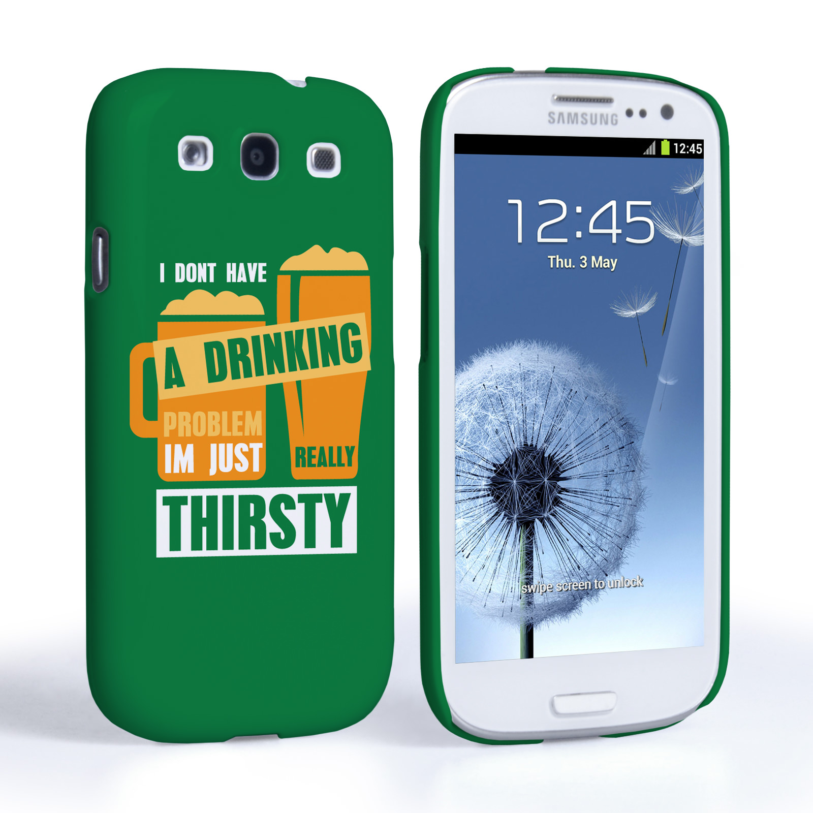 Caseflex Samsung Galaxy S3 'Really Thirsty' Quote Hard Case – Green