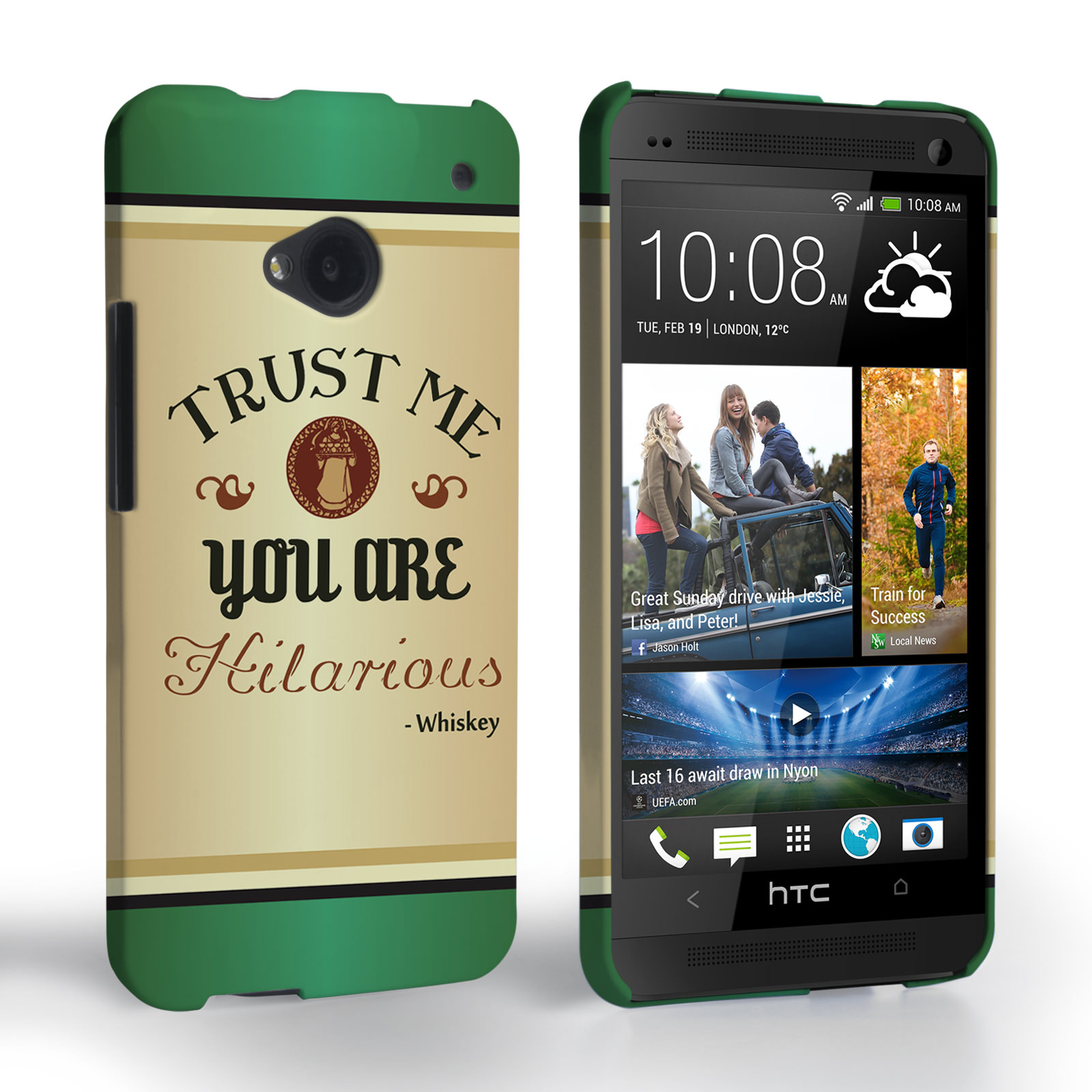 Caseflex HTC One Irish Whiskey Quote Hard Case – Green
