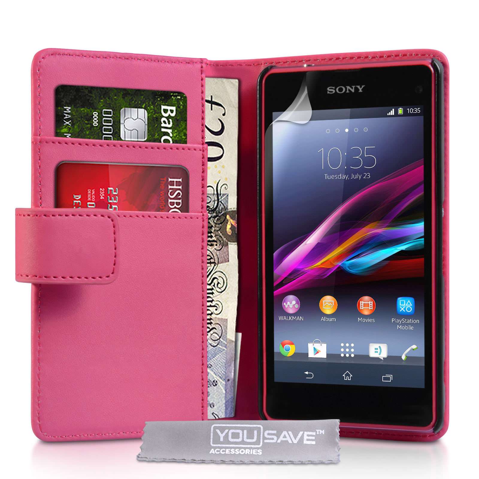 YouSave Sony Xperia Z1 Compact Leather-Effect Wallet Case - Hot Pink