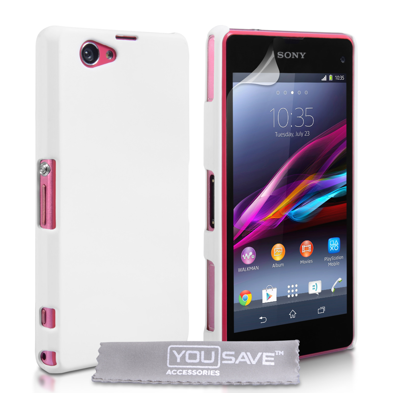 big sale 55326 b2b76 Yousave Accessories Sony Xperia Z1 Compact Hard Hybrid Case - White