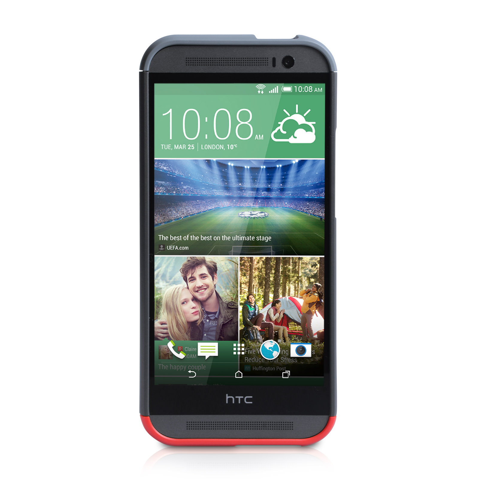 Official HTC One M8 Double Dip Hard Shell Case - Grey / Red