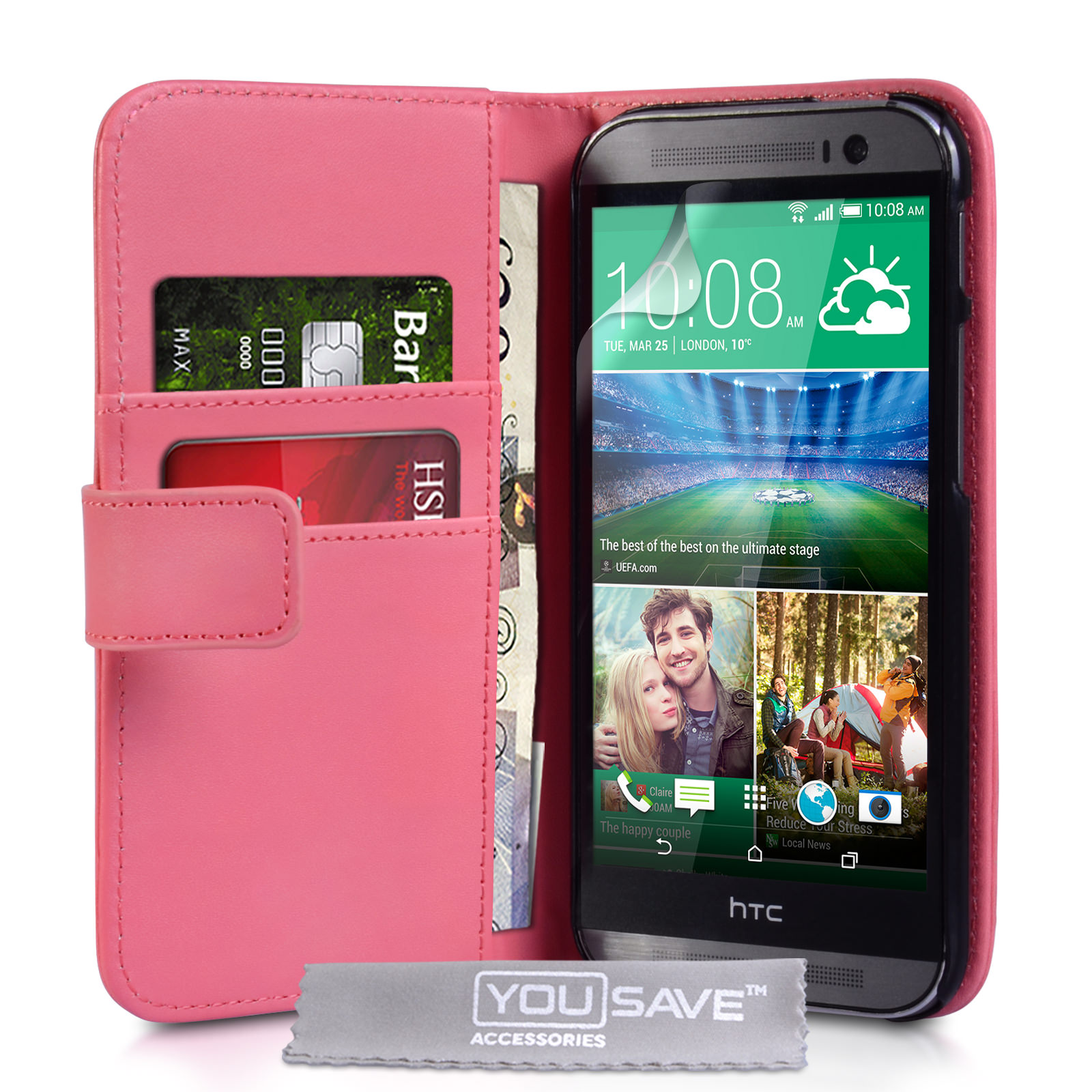 YouSave Accessories HTC One M8 Leather-Effect Wallet Case - Hot Pink