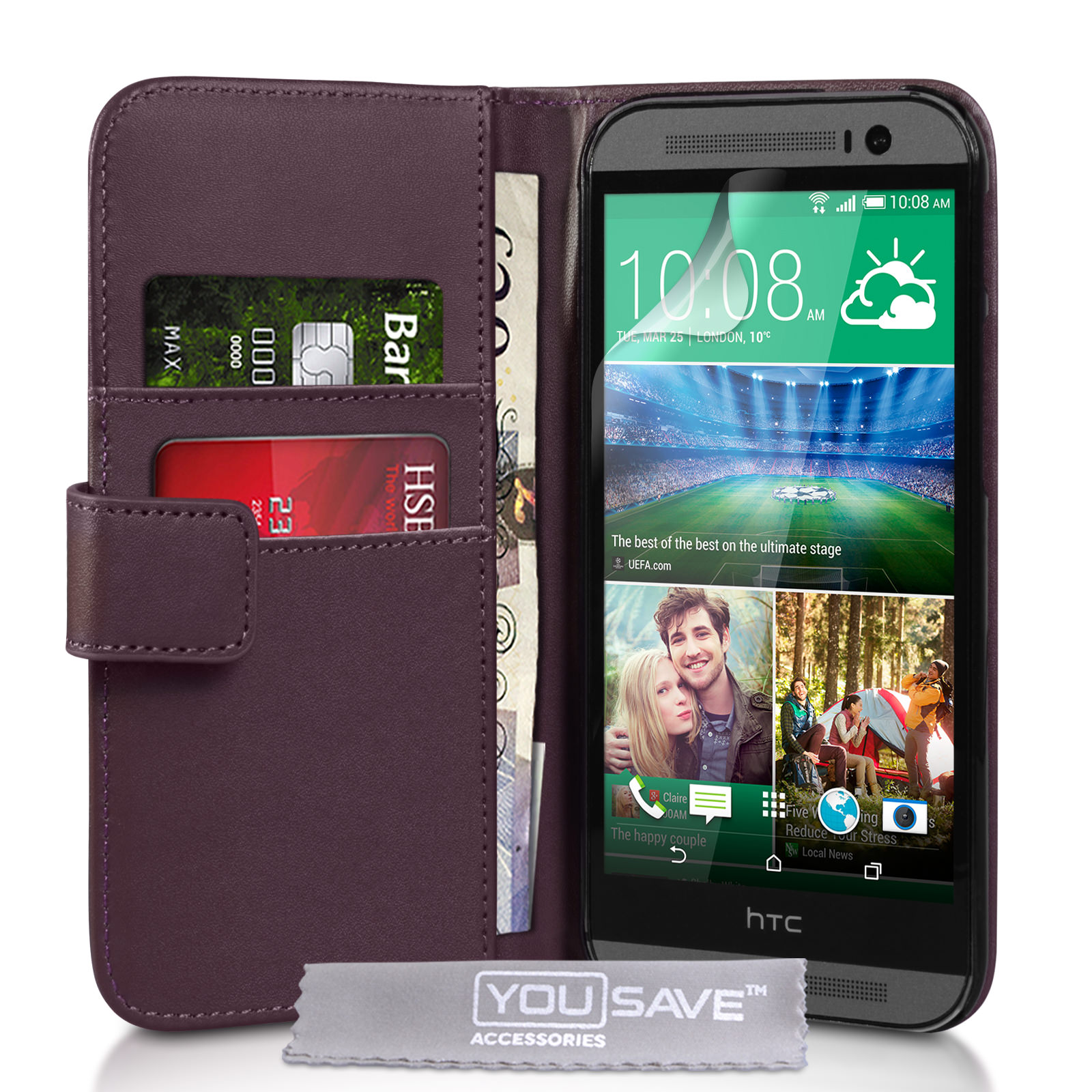 YouSave Accessories HTC One M8 Leather-Effect Wallet Case - Purple