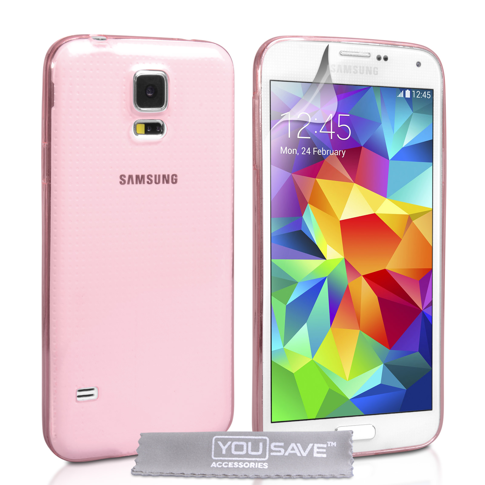 YouSave Accessories Samsung Galaxy S5 0.6mm Clear Gel Case - Pink