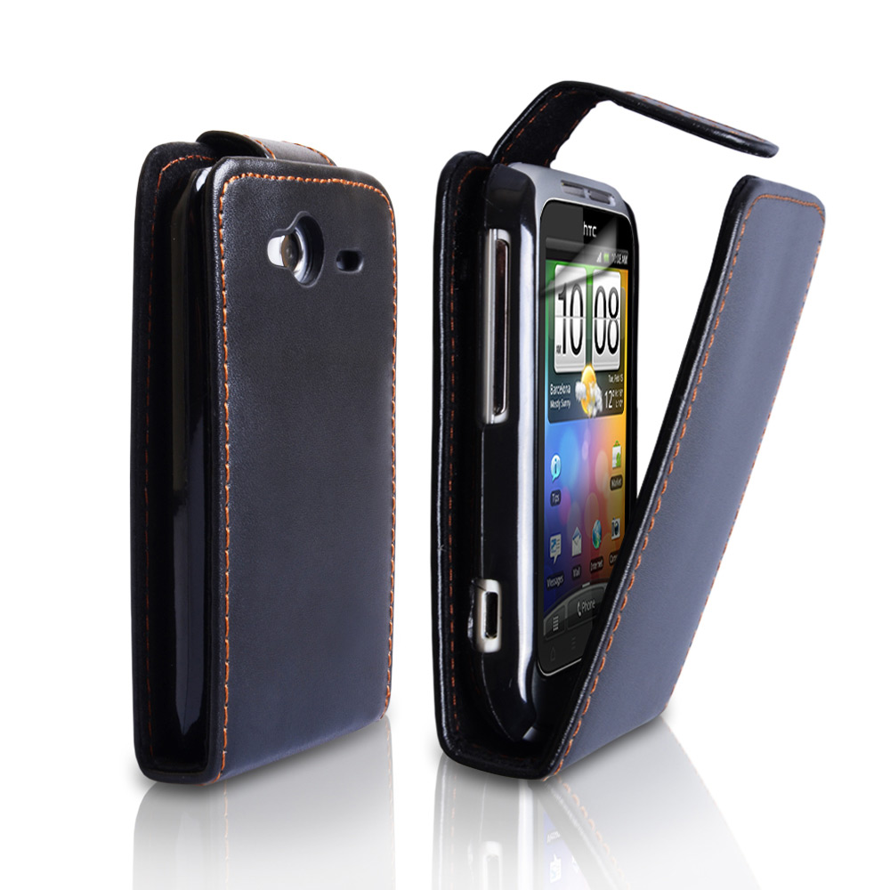 YouSave Accessories HTC Wildfire S Leather-Effect Flip Case - Black