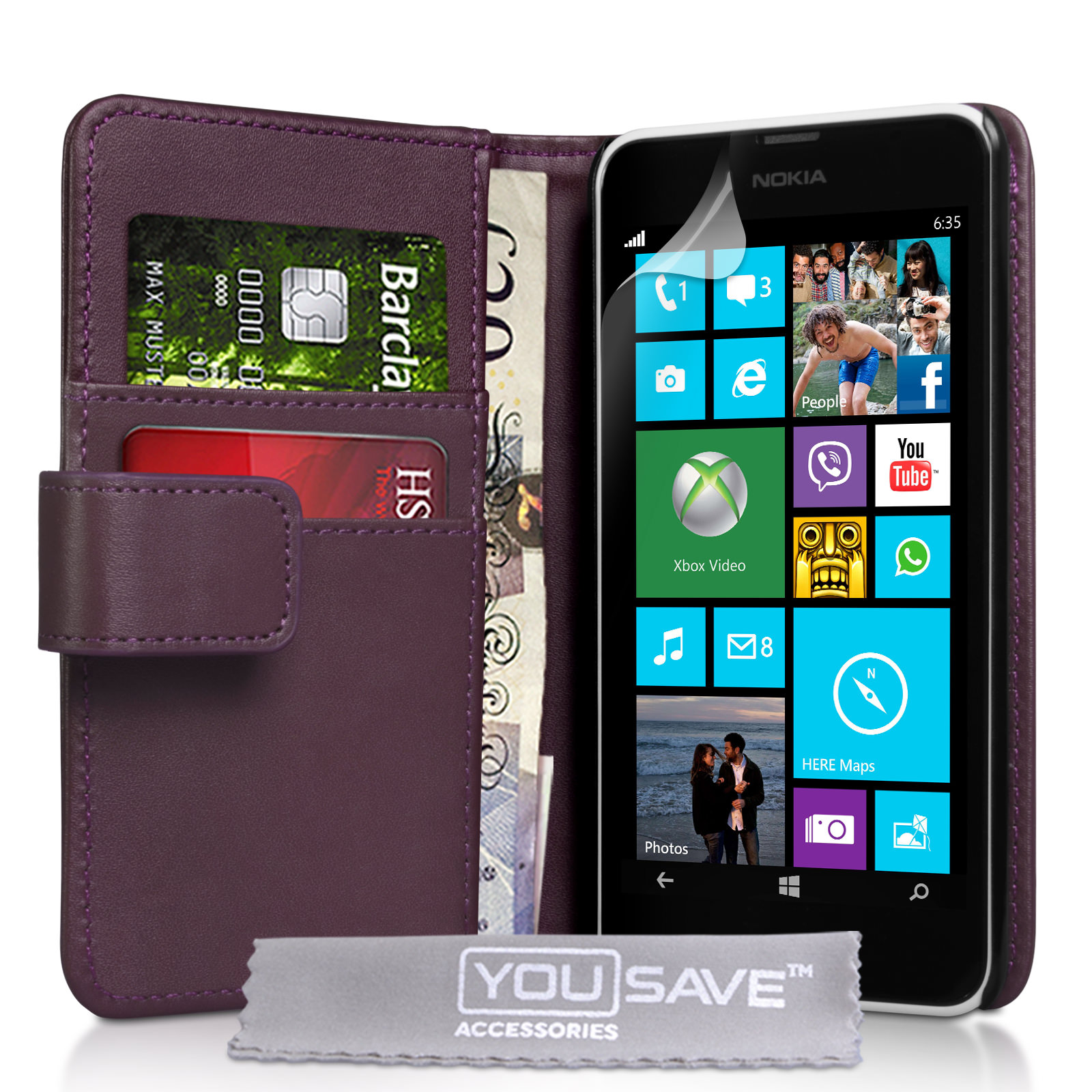YouSave Nokia Lumia 630 Leather-Effect Wallet Case - Purple