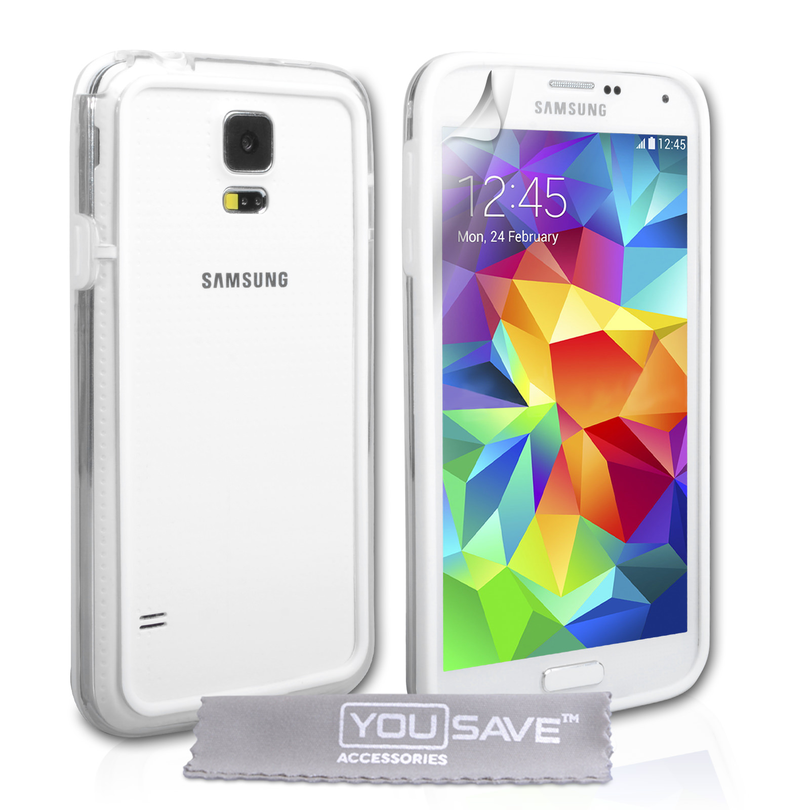 YouSave Accessories Samsung Galaxy S5 Bumper Case - Clear/White