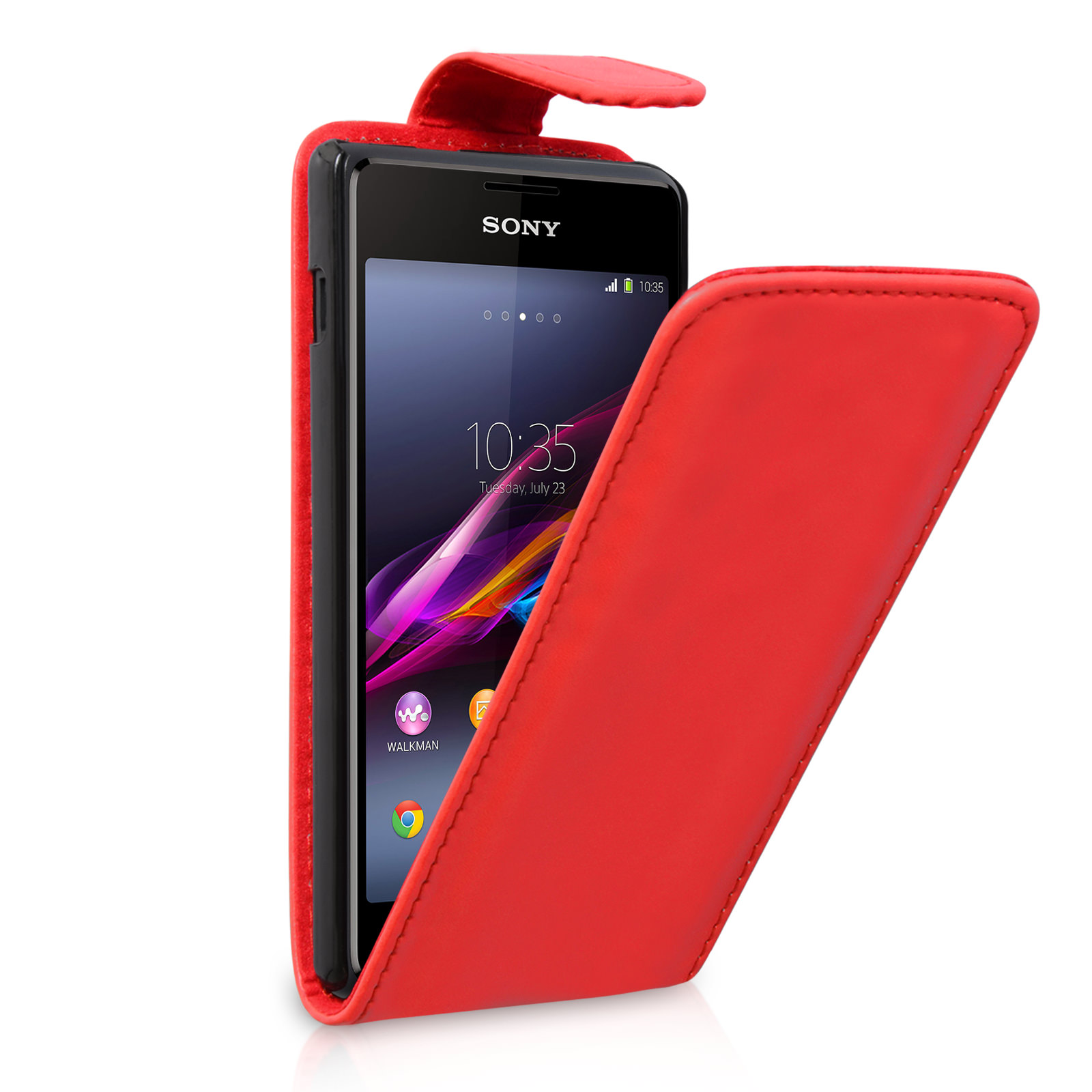 YouSave Accessories Sony Xperia E1 Leather-Effect Flip Case - Red