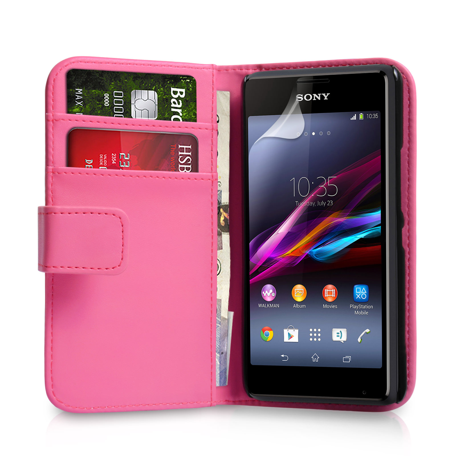 YouSave Sony Xperia E1 Leather-Effect Wallet Case - Hot Pink