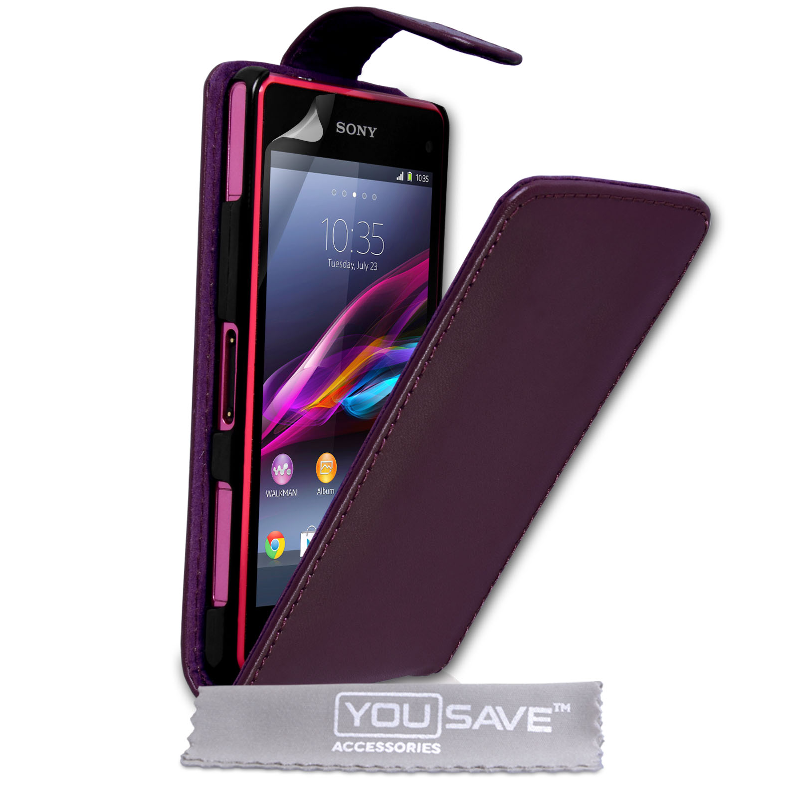 sony xperia z1 purple. yousave sony xperia z1 compact leather-effect flip case - purple