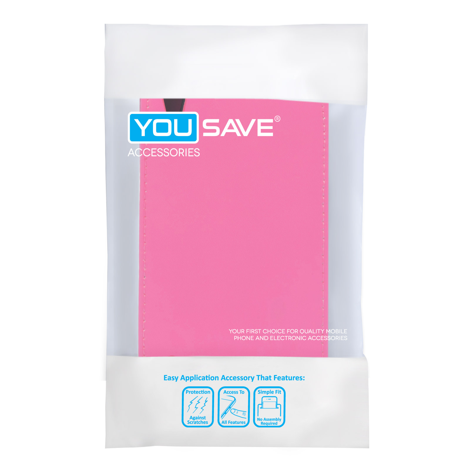 YouSave Huawei Ascend P7 Leather-Effect Flip Case - Hot Pink