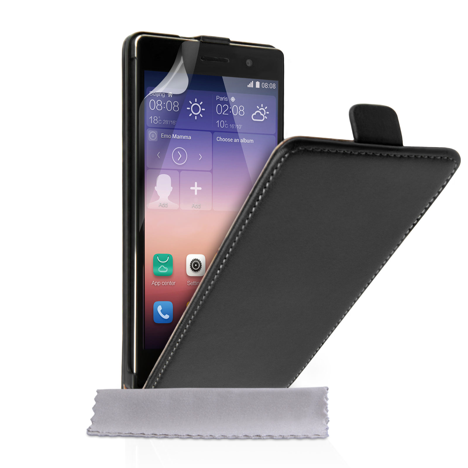Caseflex Huawei Ascend P7 Real Leather Flip Case - Black