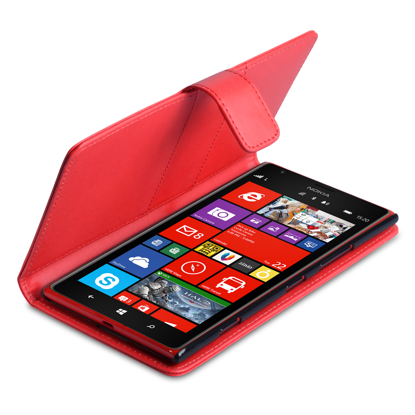 YouSave Accessories Nokia Lumia 1520 Leather-Effect Wallet Case - Red