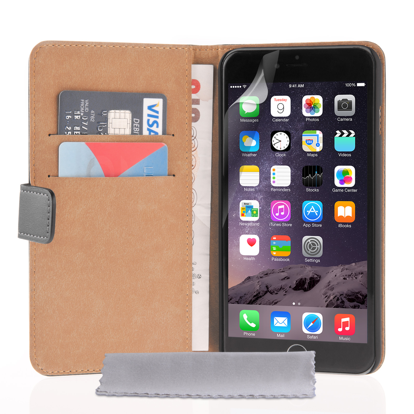 Caseflex iPhone 6 Plus and 6s Plus Real Leather Wallet Case - Black