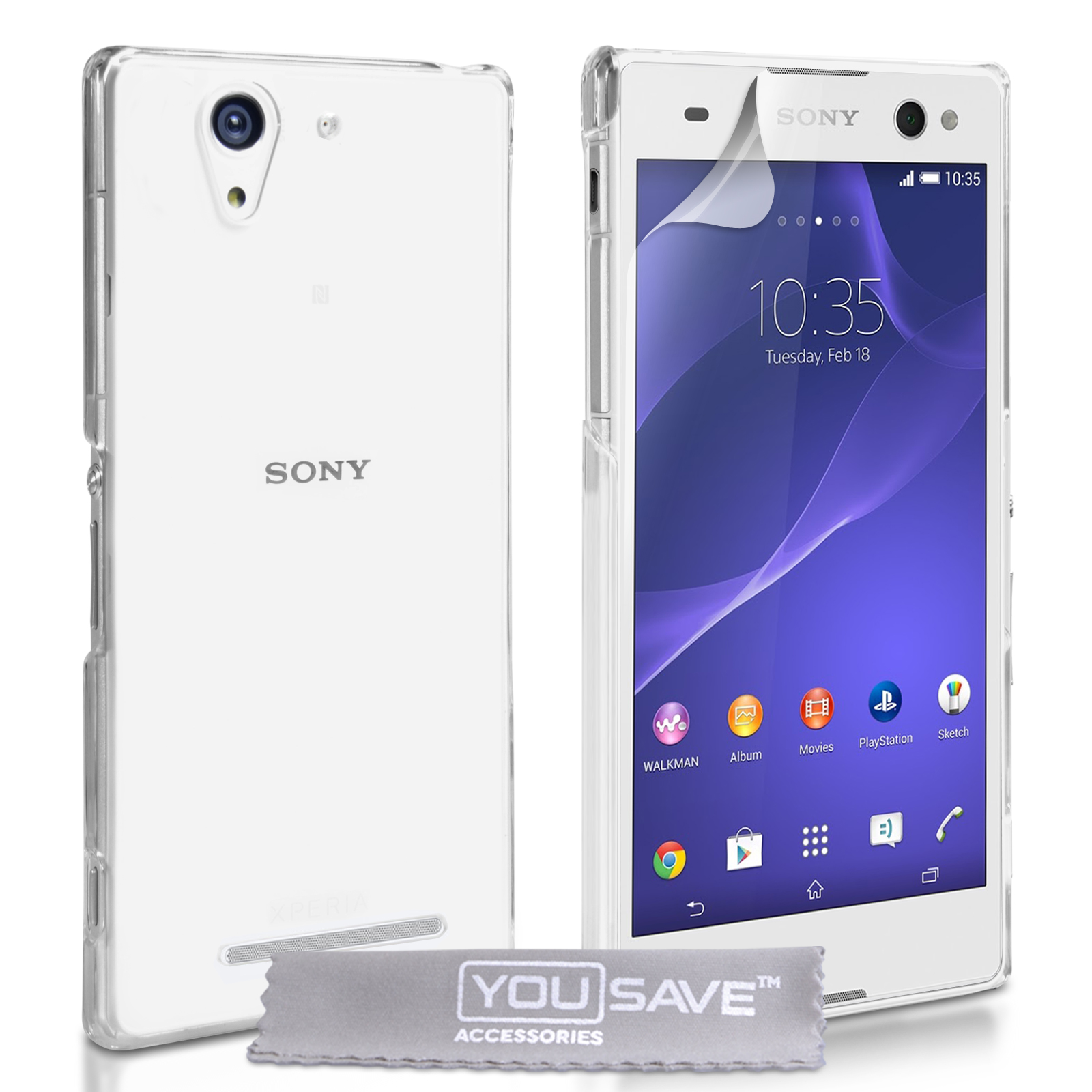 brand new 01435 b6d98 Yousave Accessories Sony Xperia C3 Hard Case - Crystal Clear