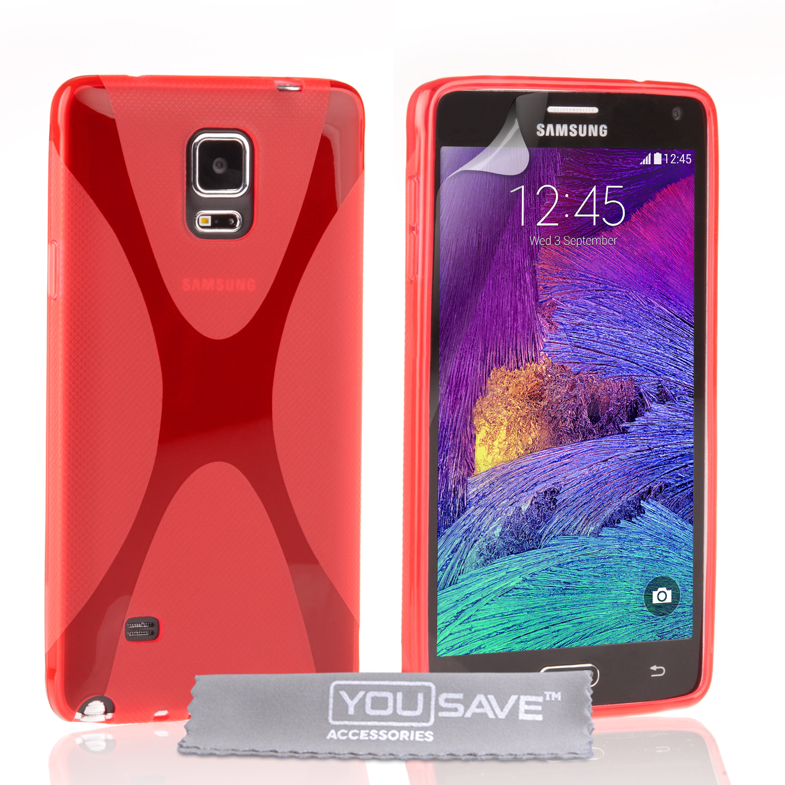 YouSave Samsung Galaxy Note 4 Silicone Gel X-Line Case - Red