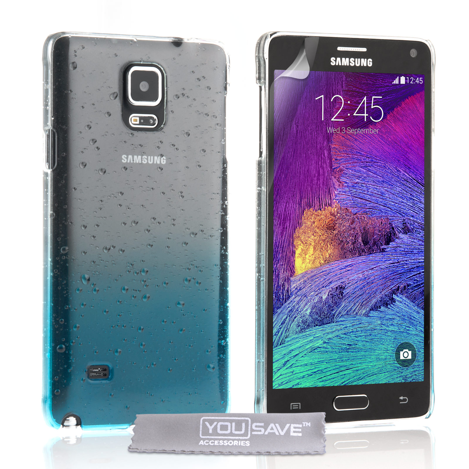 YouSave Samsung Galaxy Note 4 Raindrop Hard Case - Blue-Clear