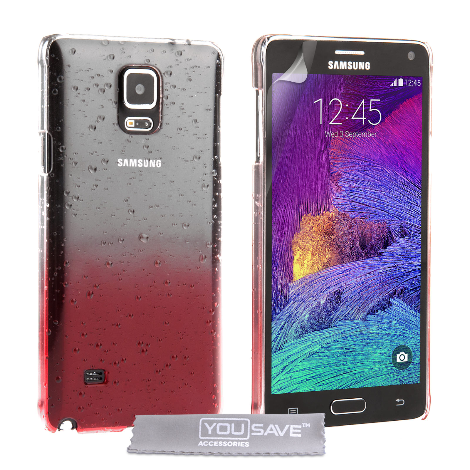 YouSave Samsung Galaxy Note 4 Raindrop Hard Case - Red-Clear