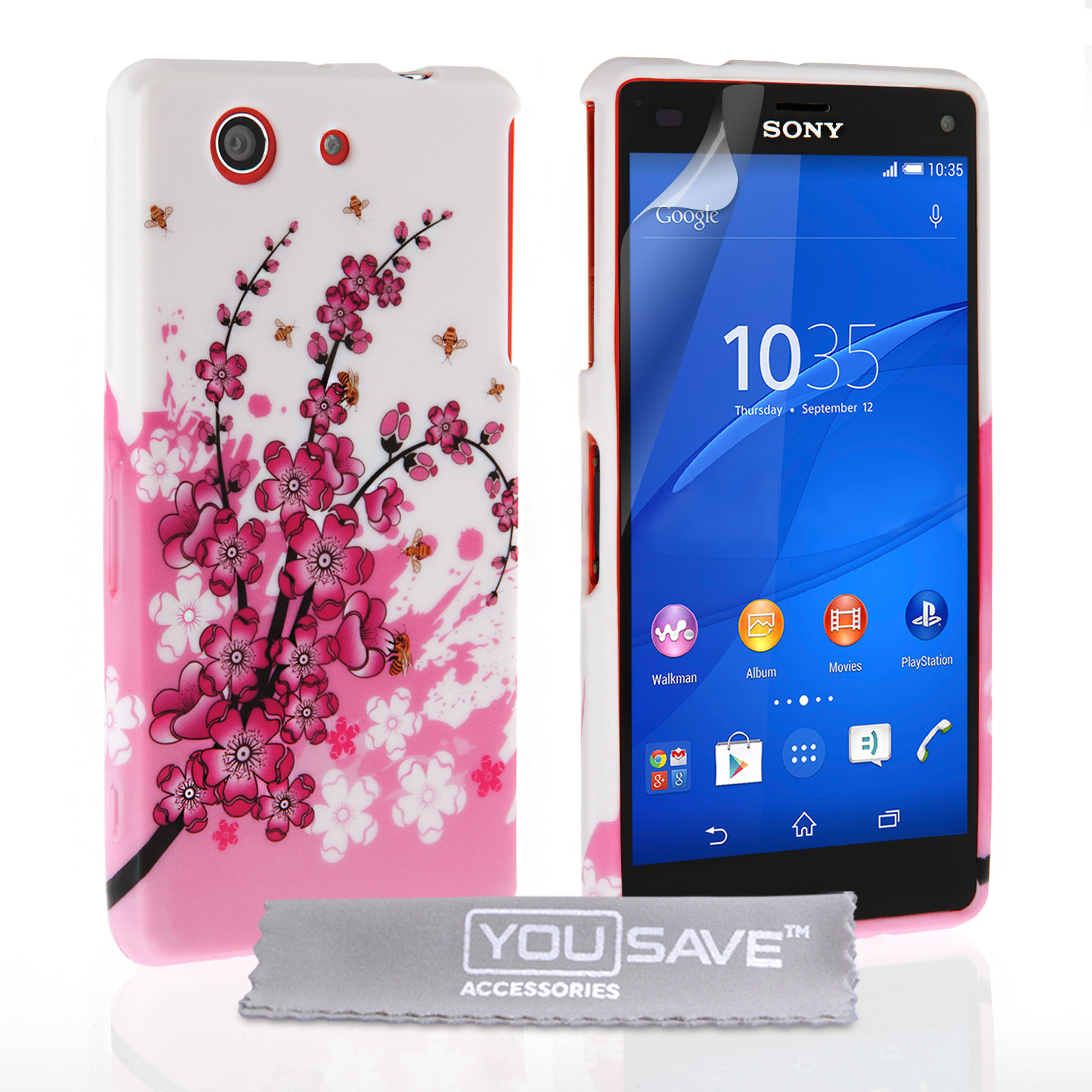 YouSave Sony Xperia Z3 Compact Floral Bee Silicone Gel Case