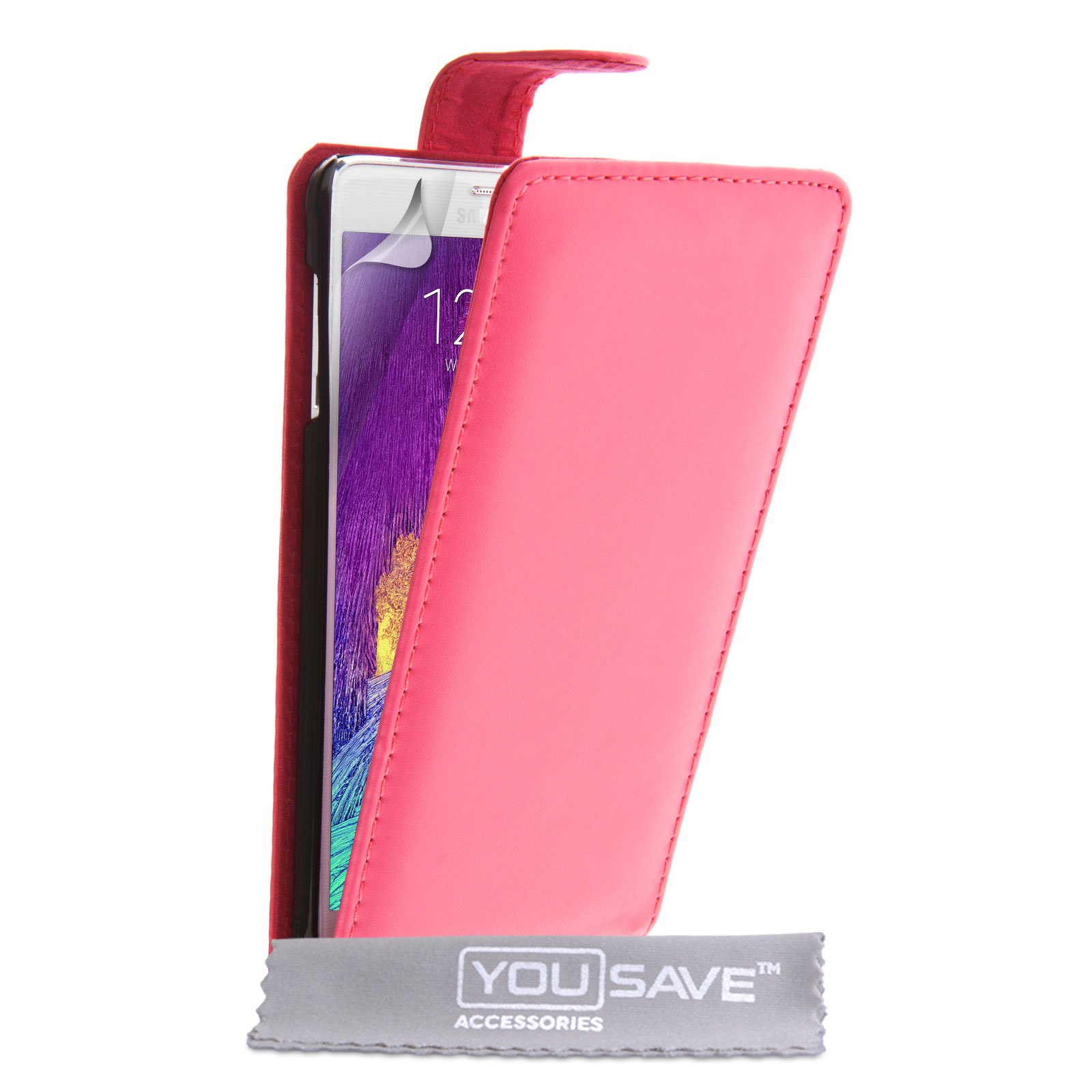 YouSave Samsung Galaxy Note 4 Leather-Effect Flip Case - Hot Pink