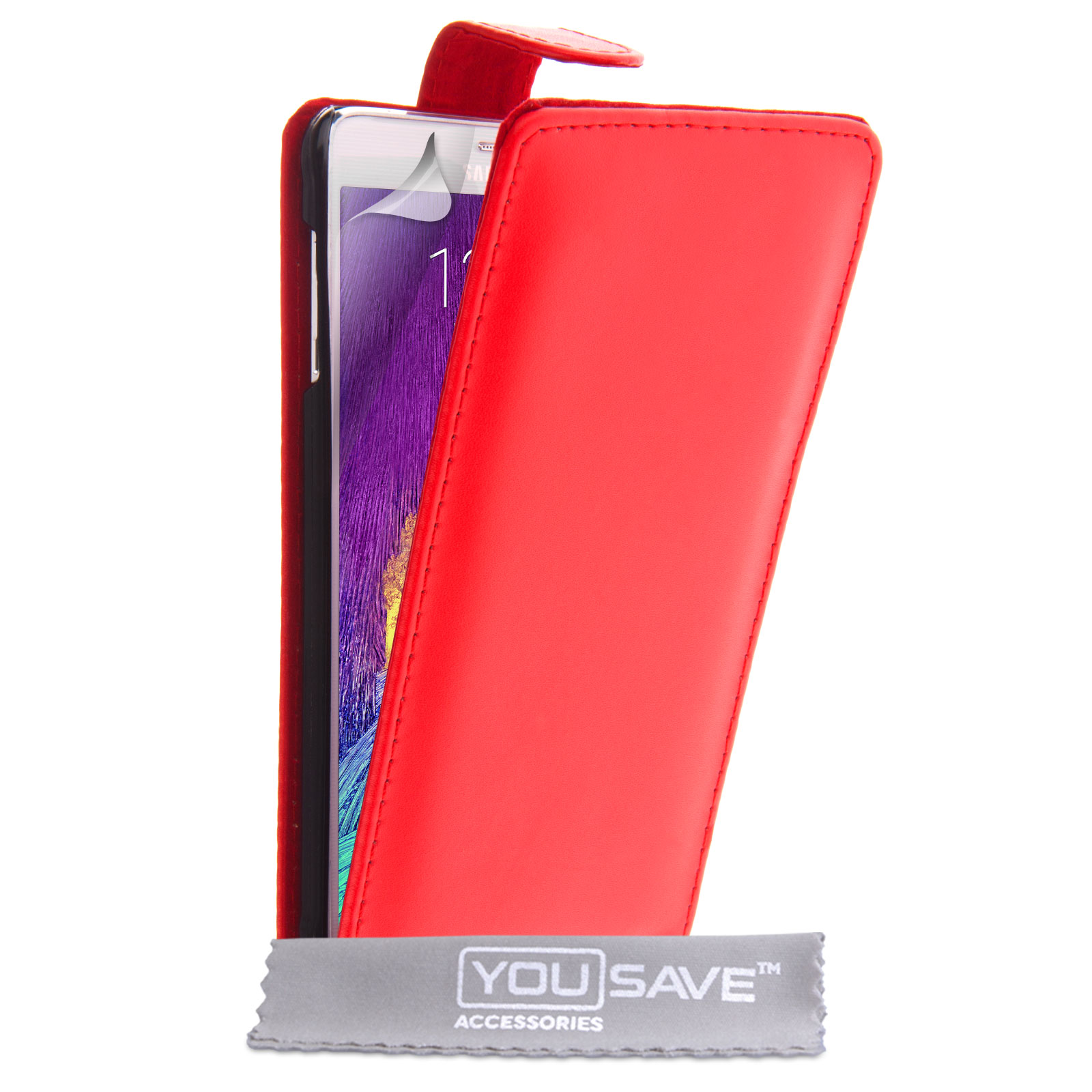 YouSave Samsung Galaxy Note 4 Leather-Effect Flip Case - Red