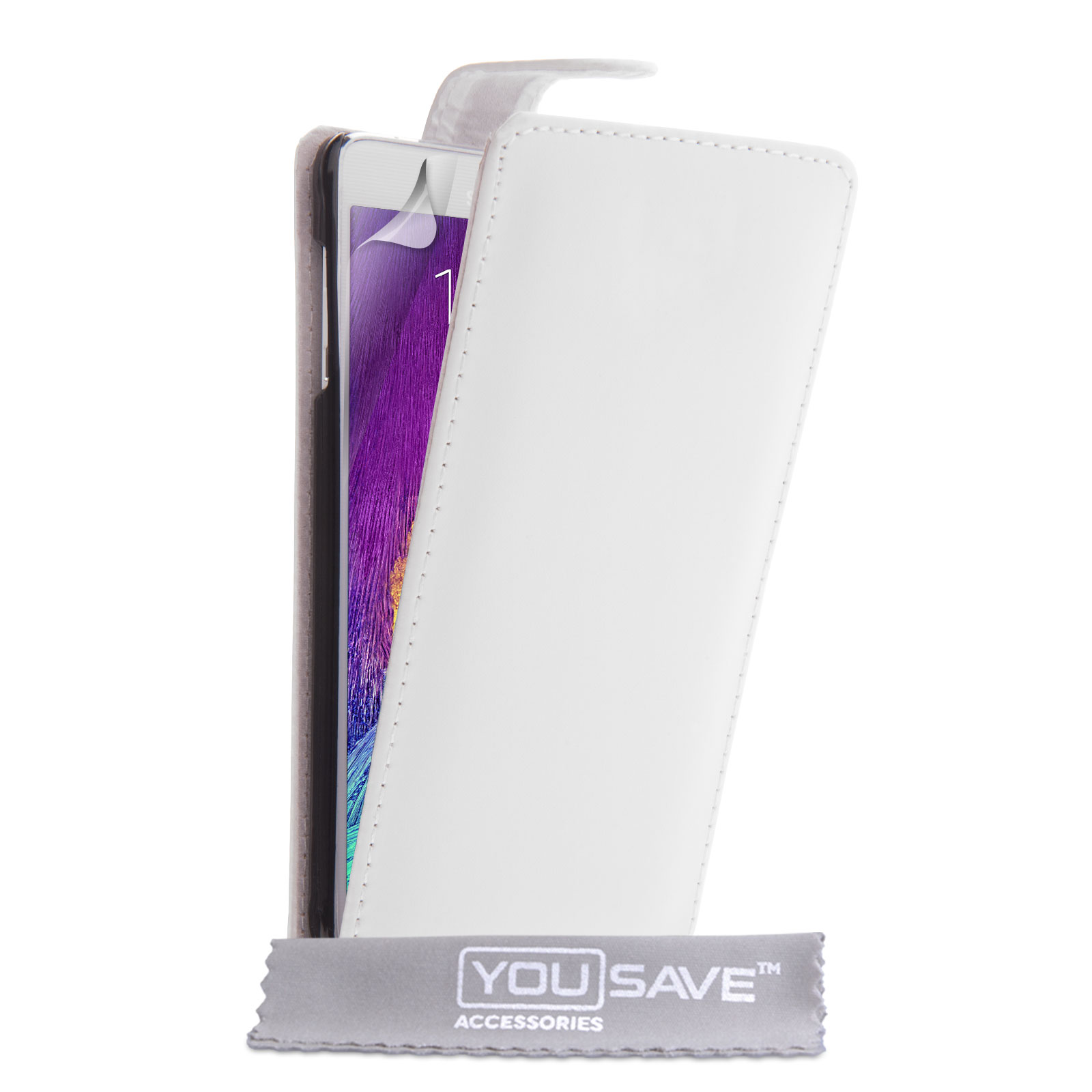 YouSave Samsung Galaxy Note 4 Leather-Effect Flip Case - White