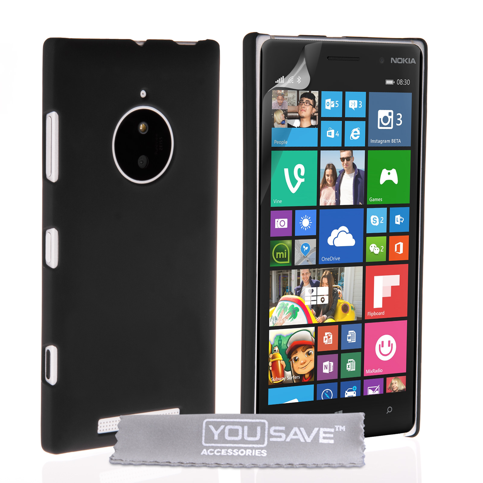 yousave accessories nokia lumia 830 hard hybrid case black. Black Bedroom Furniture Sets. Home Design Ideas