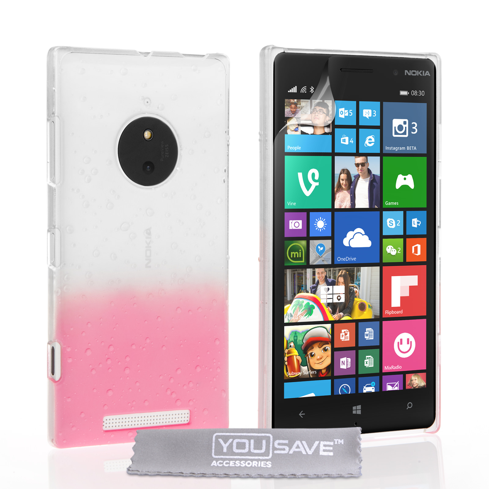 YouSave Nokia Lumia 830 Raindrop Hard Case - Baby Pink-Clear
